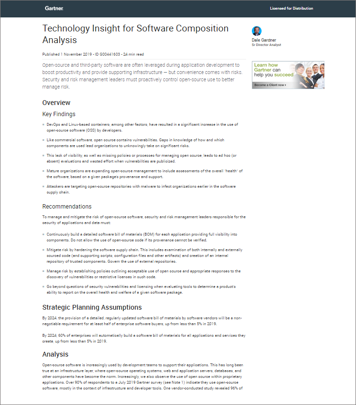 Gartner Report: Technology Insight for Software Composition Analysis