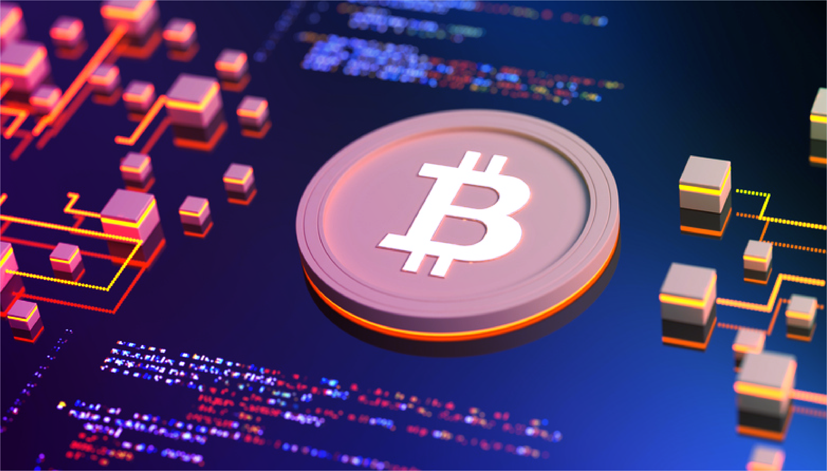 Image of bitcoin breaking through a dollar bill