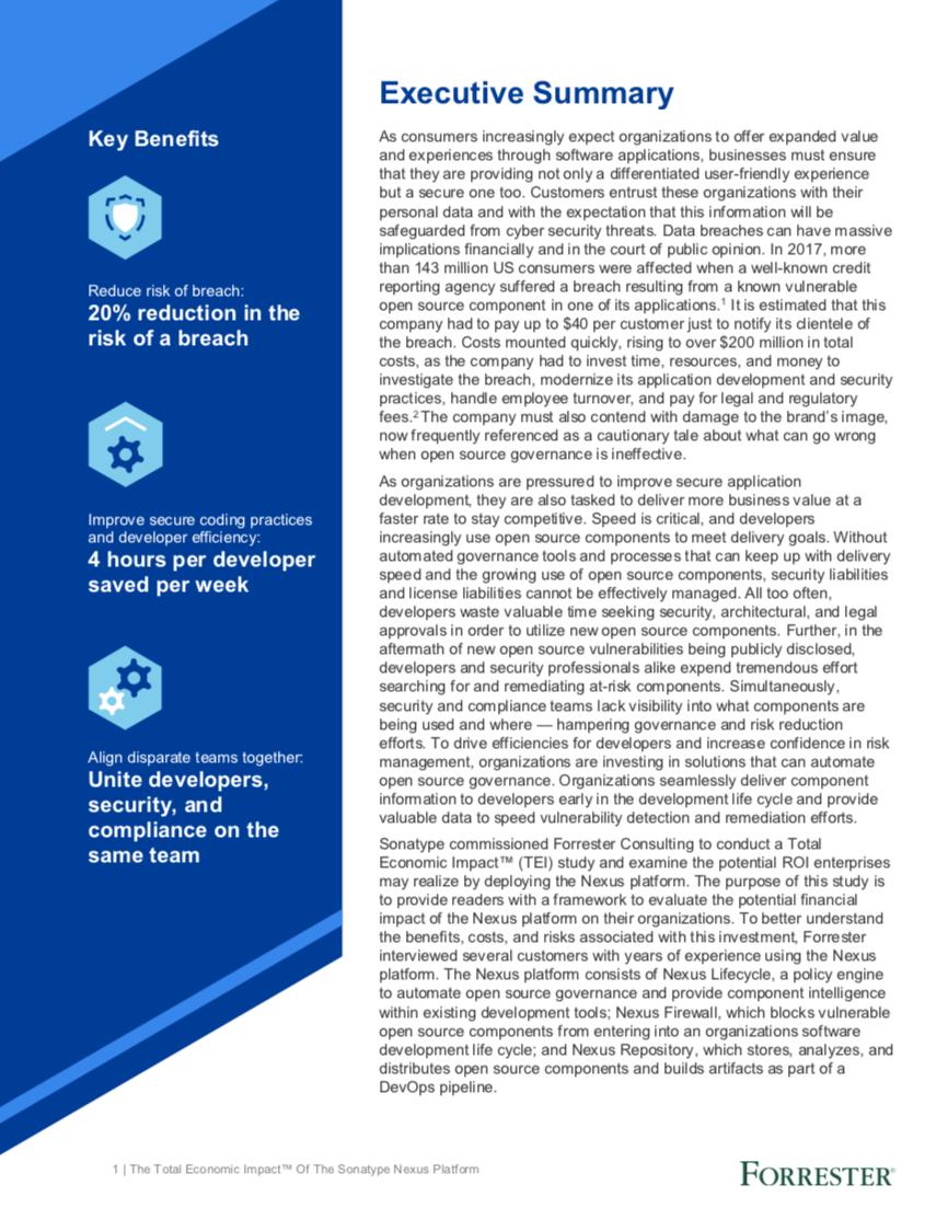 The Total Economic Impact of The Sonatype Nexus Platform Executive Summary